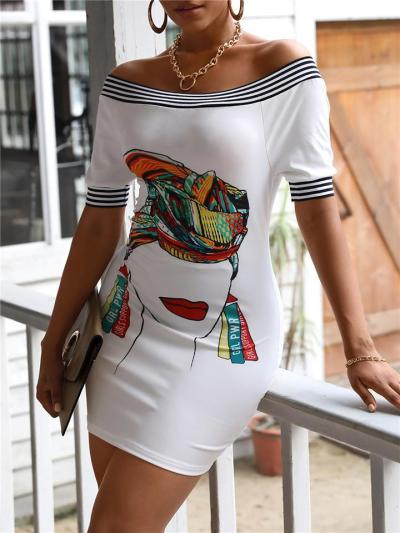 Fashionable Off Shoulder Floral Printed Short Sleeve Bodycon Mini Dress