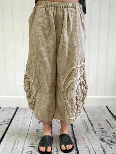 Plus Size Wide Leg Cotton Linen Harem Pants