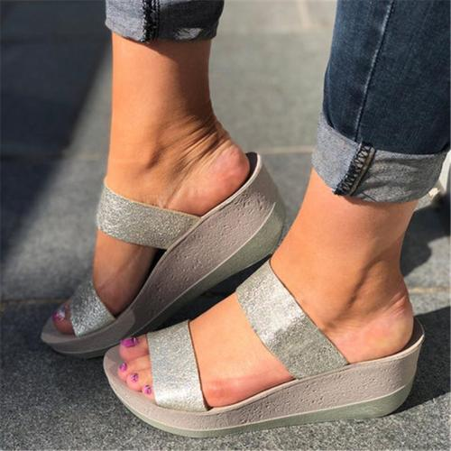 Casual Chunky Heel Slip-On Peep Toe Women Sandals
