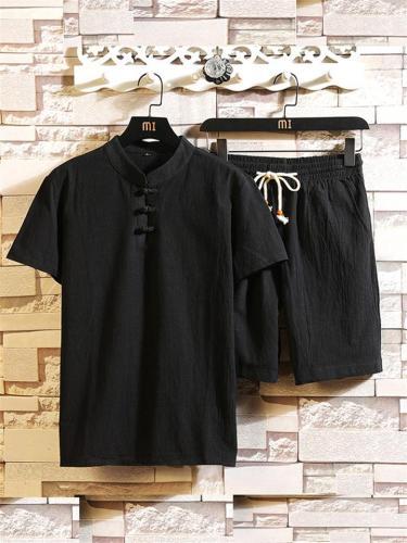 Men's Summer Casual Cotton Linen Sets T-shirt + Pants
