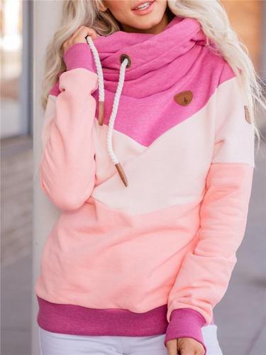 Fashion Color Block Soft Fleece Lined Hooded Sweatshirt