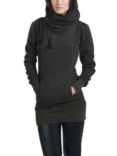 Regular Fit Solid Color Pocket Drawstring Hooded Midi Sweatshirt