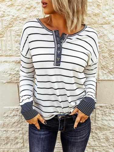 Casual Fit Front Button Striped Long Sleeve Pullover Shirt & Tops