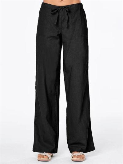 Casual Fit Drawstring Solid Color Pocket Straight-Leg Cotton Linen Pants