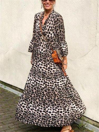 Bohemian Style Leopard V Neck Long Sleeve Pleated Maxi Dress
