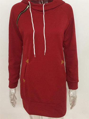 Side Zipper Pocket Midi Length Drawstring Hooded Sweatshirt