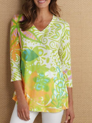 3/4 Sleeve Printed Casual V Neck Shirt