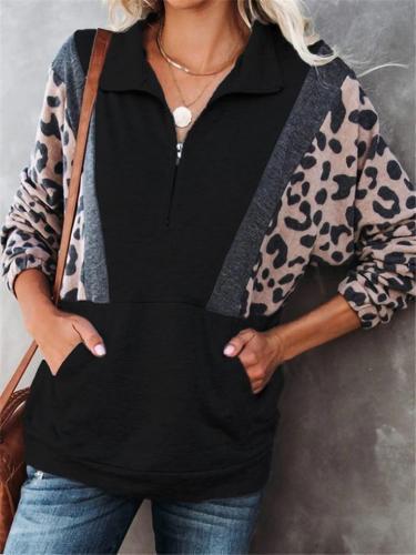 Fashion Leopard Patchwork Long Sleeve Pullover Sweatshirt