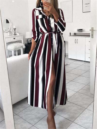 Trendy Long Sleeve Lapel Collar Striped Button Up Waist Tie Shirt Dress