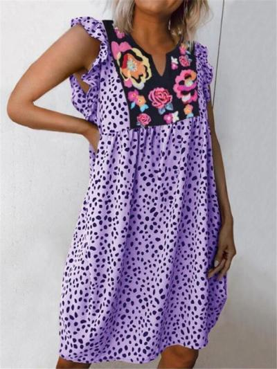 Loose Fit Notched V Neck Floral Leopard Pattern Ruffled Cuff Pullover Dress