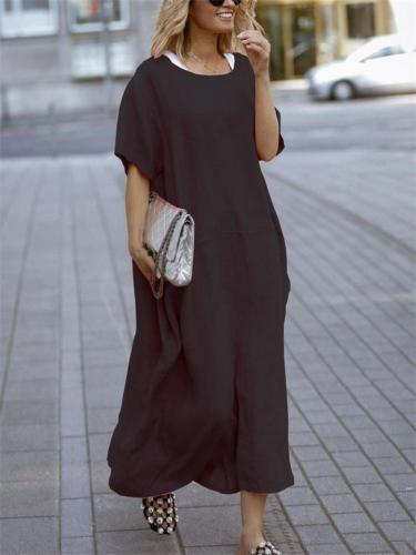 Loose Fit Scoop Neck Short Sleeve Solid Color Pullover Maxi Dress