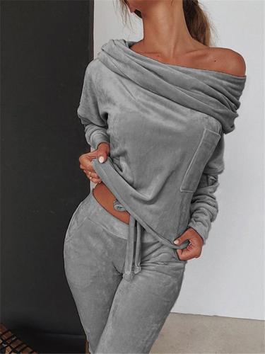 Slim Fit Velvet Tracksuit Off Shoulder Drawstring Tops + Pocket Sweatpants