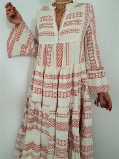 Stylish V Neck A-Lined Geometric Pattern Flare Sleeve Pleated Dress