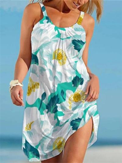 Casual Style Scoop Neck Floral Printed Sleeveless A-Lined Dress