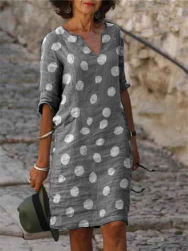 Vintage Style V Neck Polka Dot Long Sleeve Linen Cotton Midi Dress
