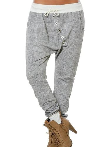 Regular Fit Dropped Crotch Drawstring Pocket Loose Harem Pants