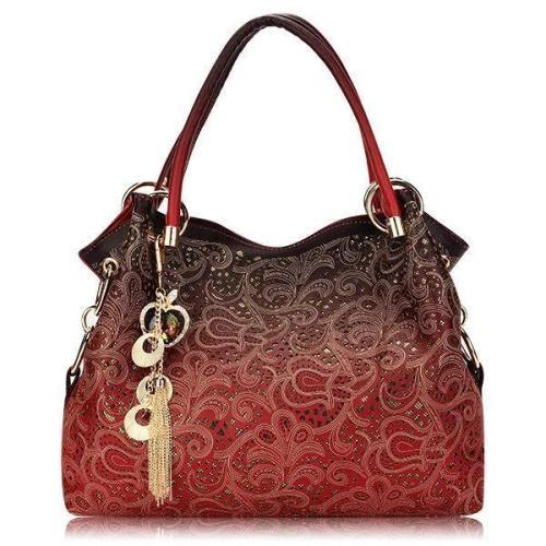 Women Elegant Vintage Hollow Out PU Leather Handbags