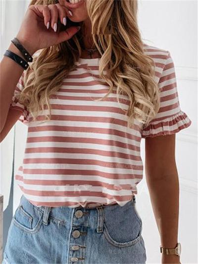 Relaxed Fit Round Neck Striped Ruffled Short Sleeve T-Shirt