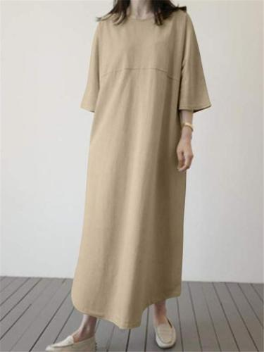 Oversized Cotton Linen Round Neck Long Sleeve Solid Color Maxi Dress