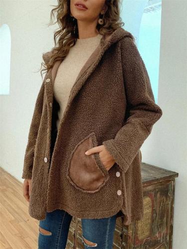 Wearable Double-Sided Fleece Pocket Button Hooded Coat