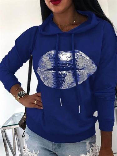 Sequins Lip Printed Long Sleeve Hoodie For Women