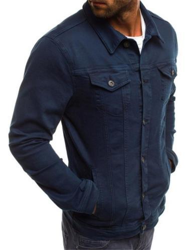 Turn-down Collar Slim Cut Jacket For Men