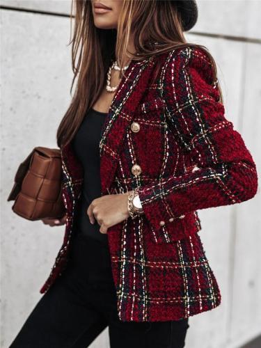 Fashion Plaid Notched Collar Button Slim Suit Jacket