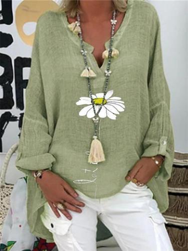 Oversized Daisy Print V Neck Long Sleeve Loose Shirt