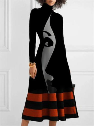 Casual Fit High Neck Abstract Printed Long Sleeve Dress