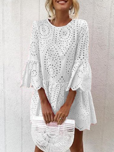 Frill Sleeves Casual Elegant Women Dresses