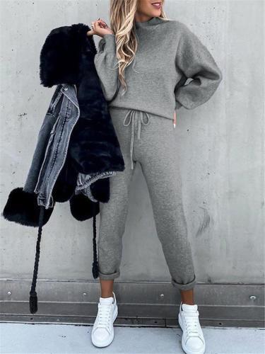 Women's Casual Pure Color Two-Piece Set High Collar Long Sleeve Sweatshirt + Sweatpants