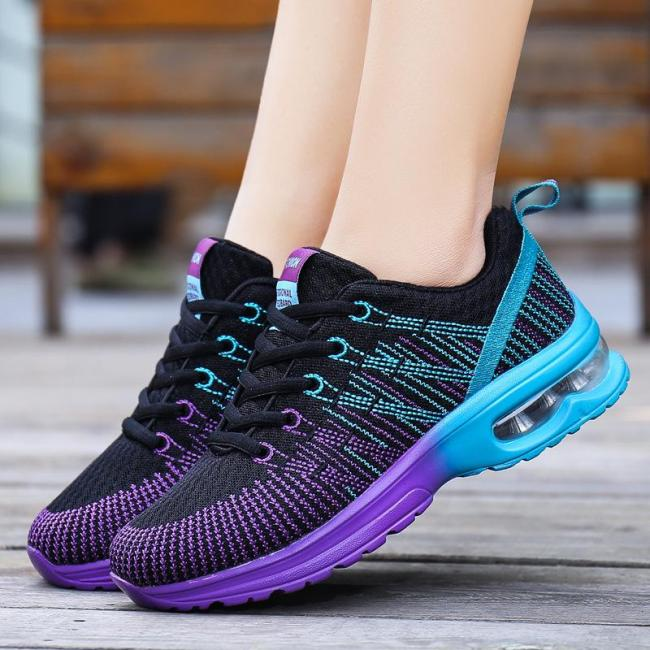 Breathable Low-Cut Mesh Multicolor Lace-Up Sneakers