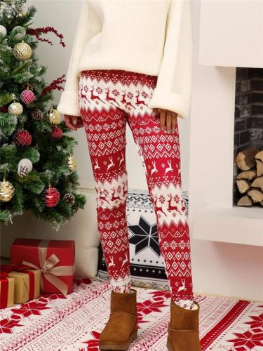 Christmas Themed Tapered Fit Printed Skinny Trousers