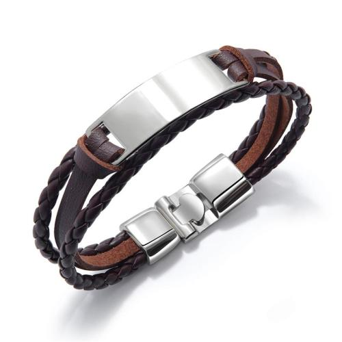 Men's Simple Braided Leather Bracelet Wristband with Alloy Ornament