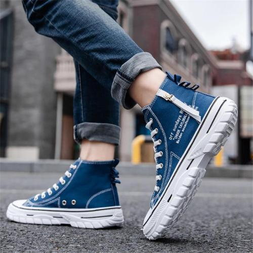 Men's Casual High Top Lace Up Canvas Shoes