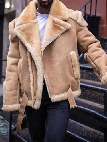 Extra Warm Lapel Notched Collar Zipper Up Thicken Jacket Coat