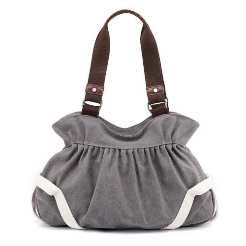 Casual Style Large Capacity Zipper Canvas Shoulder Bag