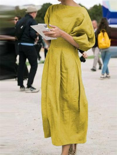 Casual Fit Round Neck Lantern Sleeve Cotton Linen Pleated Dress