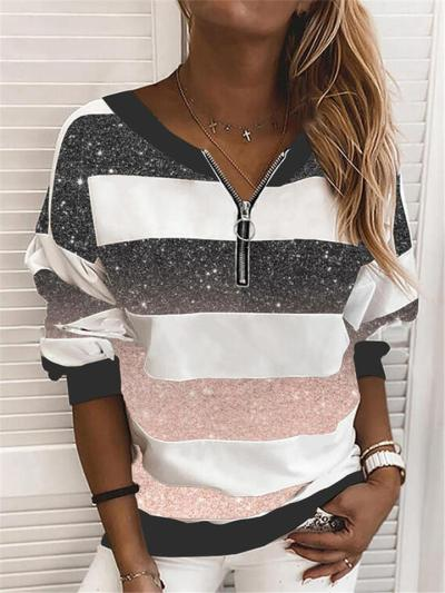 Casual Style Contrasting Striped Long Sleeve Pullover Tops