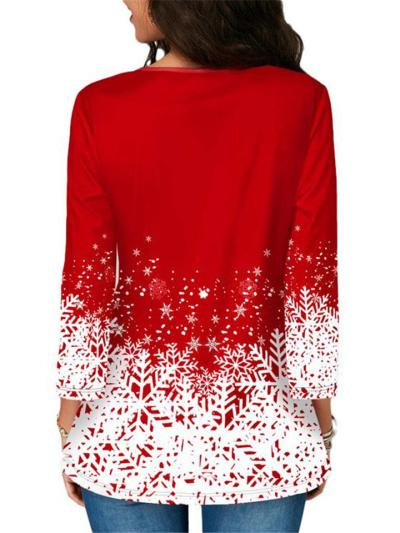 Relaxed Fit Round Neck 3/4 Sleeve Christmas Snow Printed Pullover Tops