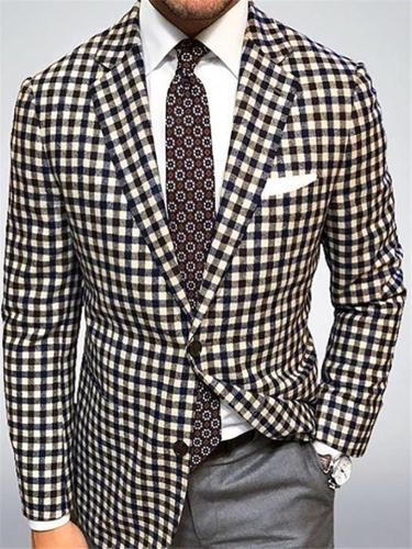 Men's Classic Fit Notched Lapel Two-Button Plaid Blazer