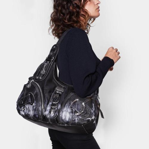 High-Quality Soft Washed Tie-Dye Multi-Pocket Crossbody Shoulder Bag