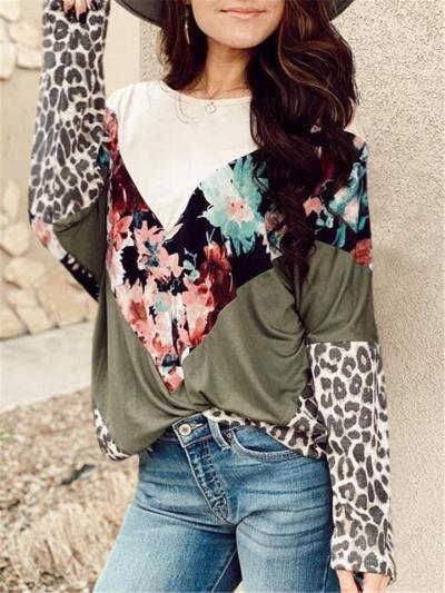 Relaxed Fit Round Neck Floral Leopard Pattern Long Sleeve Pullover Tops