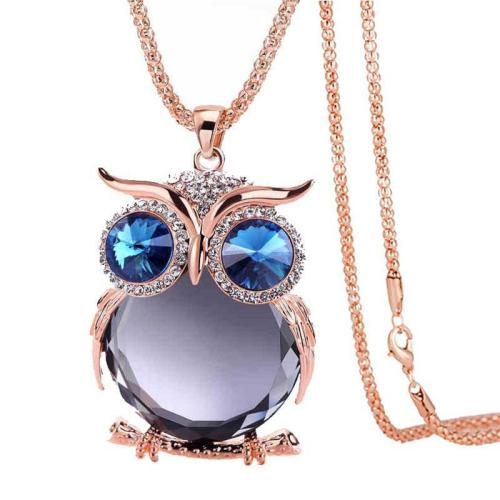 Vintage Owl Crystal Long Necklace