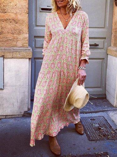 V Neck Pink Women Dresses Holiday Holiday Floral Dresses