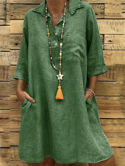 Minimalist Lapel Collar 3/4 Sleeve Button Up Midi Length Pocket Dress