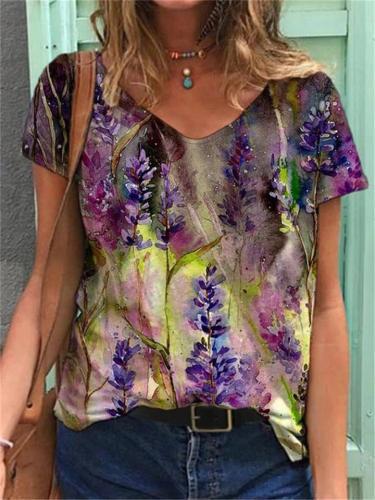 Loose Fit Pullover Short Sleeve Multicolor Floral V Neck T-Shirt