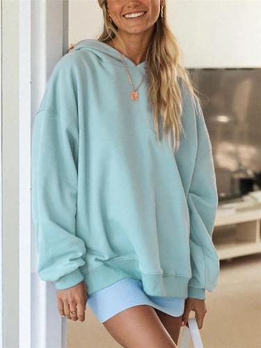 Oversized Solid Color Long Sleeve Hooded Sweatshirt