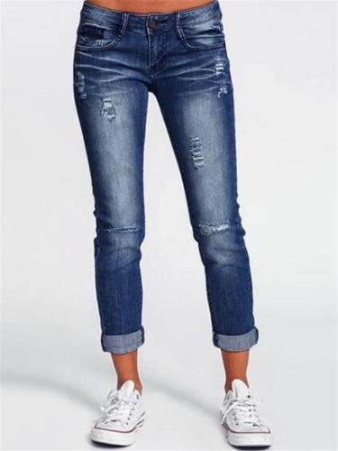 Trendy Mid-Rise Ripped Detail Slim Fit Pocket Denim Trousers