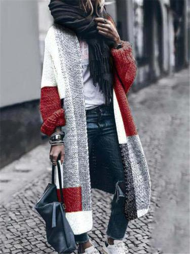 Loose Fit Open Front Color Block Knitted Sweater Cardigan